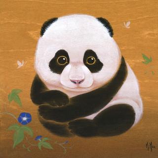 Panda and Morning Glories, Blue
