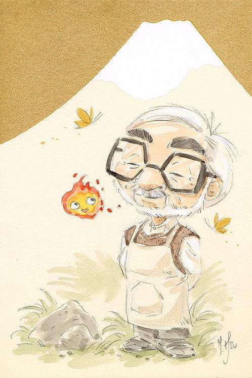 Hayao Miyazaki Mt Fuji - Calcifer print