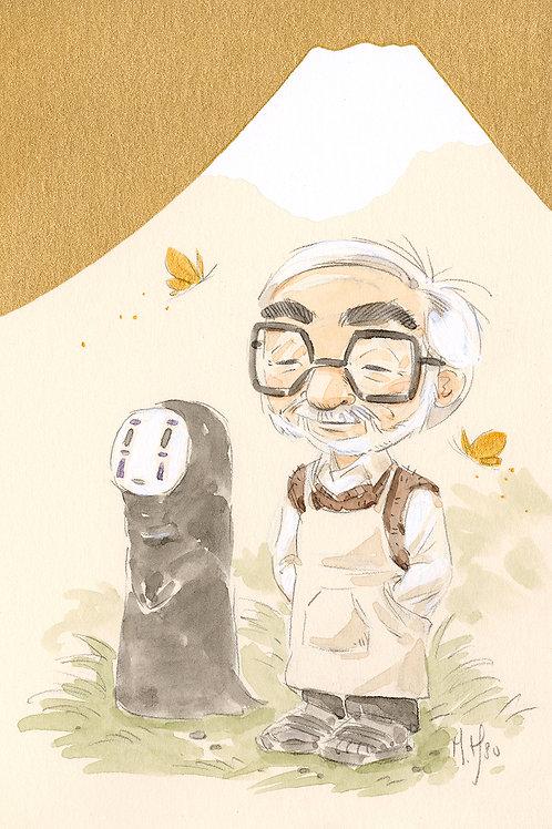 Hayao Miyazaki Mt Fuji - No Face print