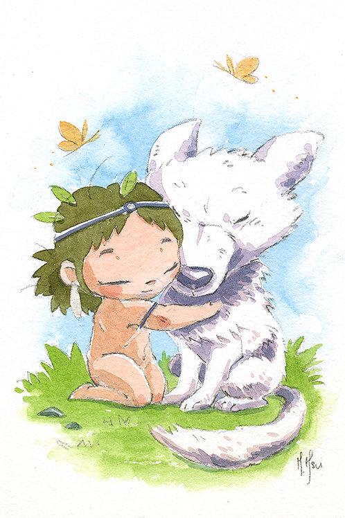 Mononoke - Wolf Hug Print