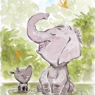 Baby Elephant and Tapir