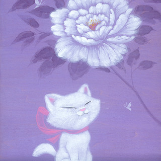 Peony and White Kitty