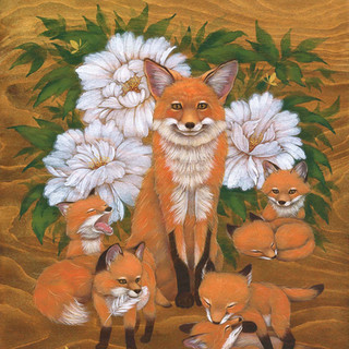 Foxes and Peonies