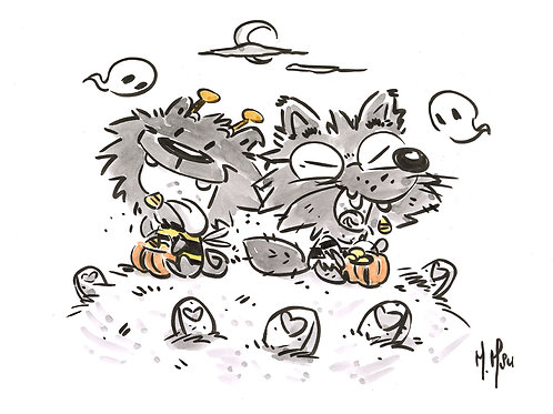 Halloween Pals - Blackie & Wolfy Print