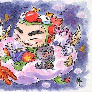 Dragon Boy Reading - Dreams