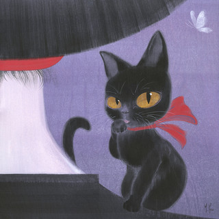 Girl and Black Cat