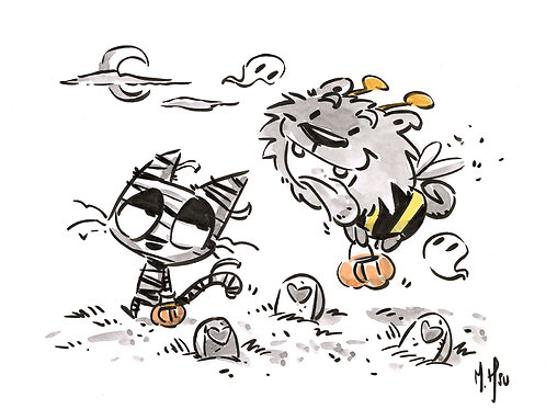 Halloween Pals - Blacky & Kitty Print