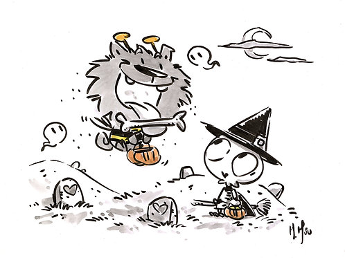Halloween Pals - Blacky & Bonezy Print