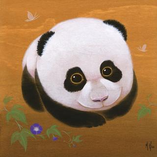 Panda and Morning Glories, Purple