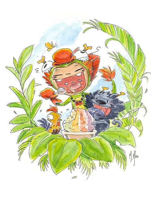 Dragon Boy and Dragon Dog - Aloha Print