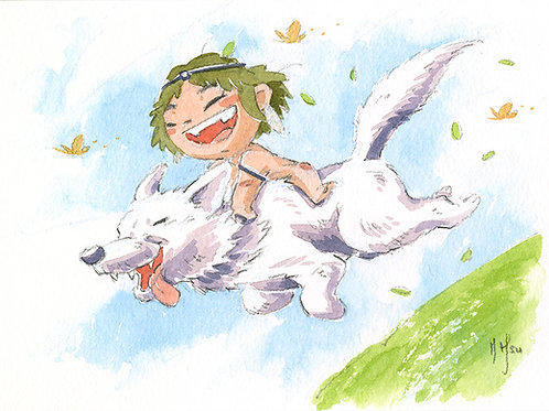 Mononoke - Wolf Jump Print
