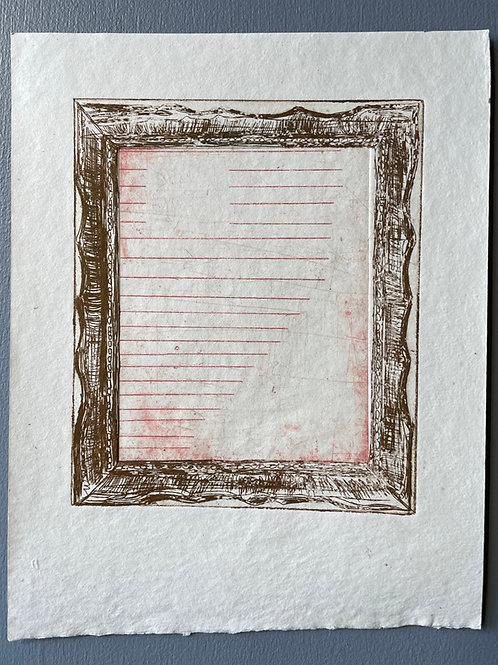 Frame with Pink Lines. Unique Metal Etching.