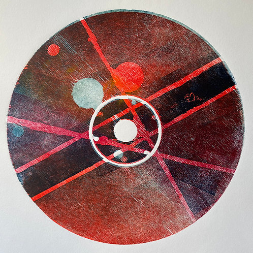 Circle Woodblock Print with Red and Blue tones