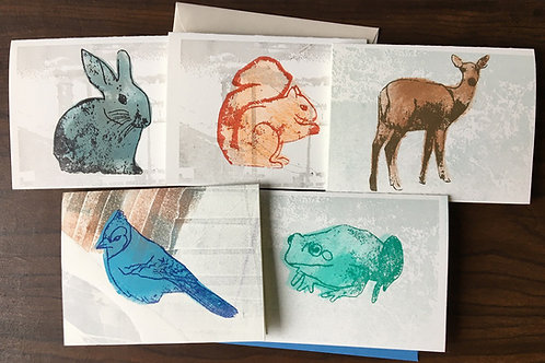 Cute Woodland Animals Letterpress Cards. Set of 5, Colorful Cards.