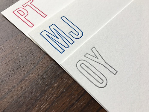 Custom Initial Letterpress Stationery. Set of 30, Personalized Notecards.