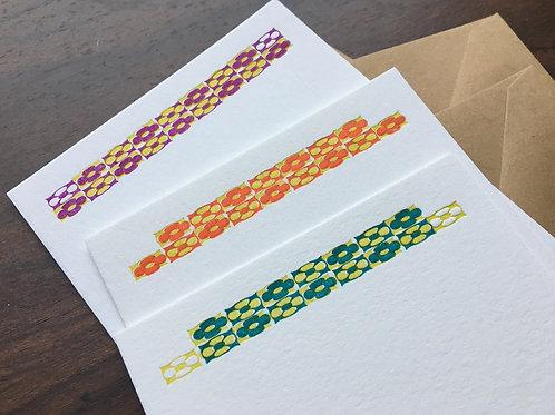 Handprinted Letterpress Notecard Set with Floral Design. Set of 3.