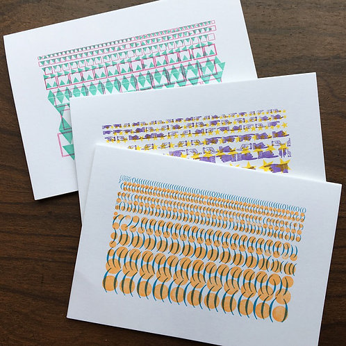 Vintage Graphics Letterpress Cards with envelopes. Fun, Colorful Notecards.