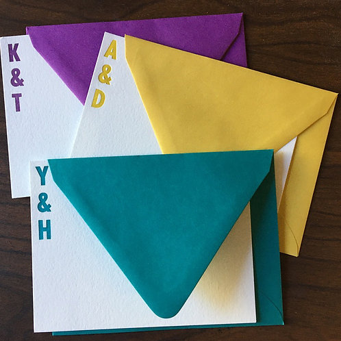 """Custom Initials """"You and Me"""" Letterpress Stationery. Set of 30 Notecards."""