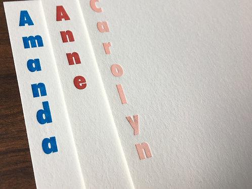 Custom Name Letterpress Stationery, Set of 30. Personalized Notecards.