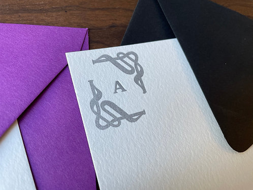 Letterpress Stationery with choice of Initial set in Decorative Frame. Set of 30