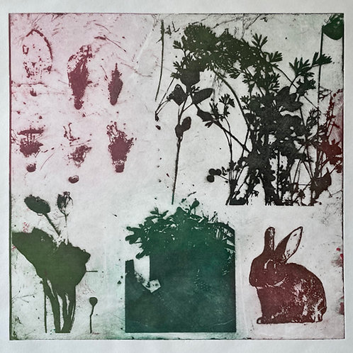 Flower and Bunny Art Print. Unique Metal Etching.
