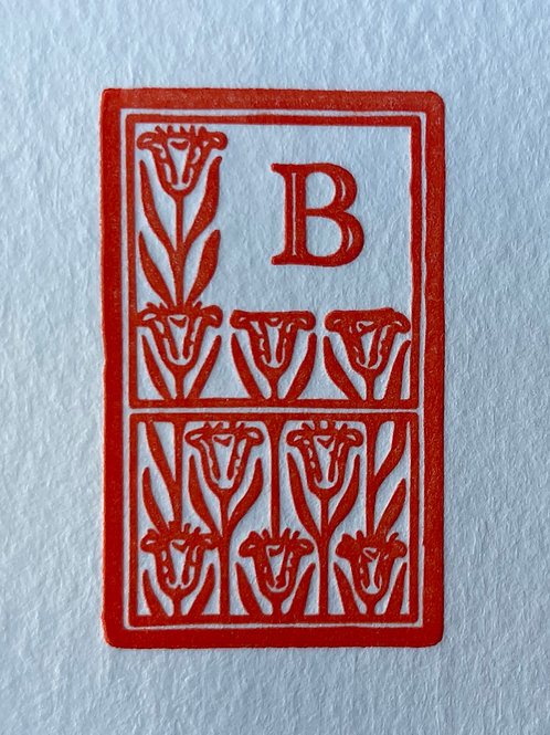 Letterpress Stationery. You choice of Initial with Decorative Frame. Set of 30