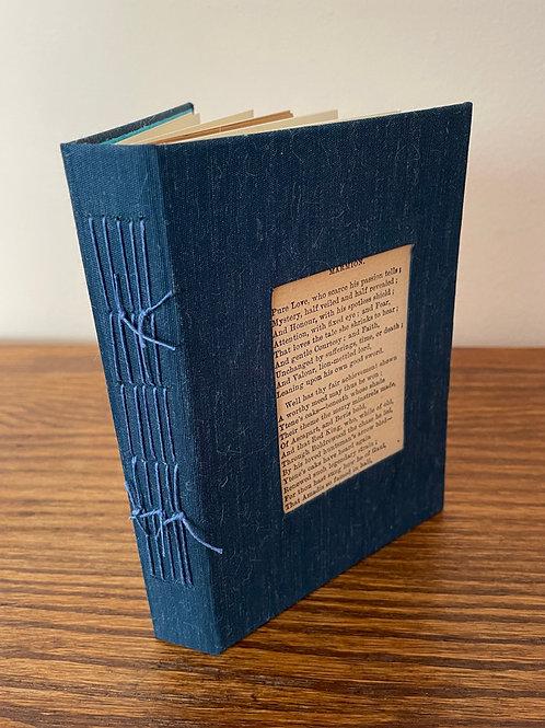 Handbound Blue Notebook featuring Vintage Text