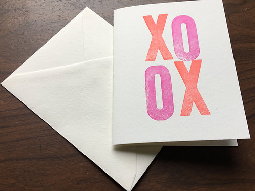 XOXO Letterpress Folded Cards. Set of 10, printed with vintage wood type.