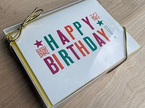 Letterpress Printed, Colorful & Bold, HAPPY BIRTHDAY Cards. Set of 10.