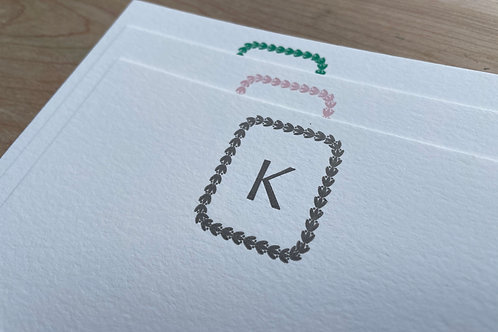 Your Initial Letterpress Stationery, Set of 30. Large Personalized Notecards