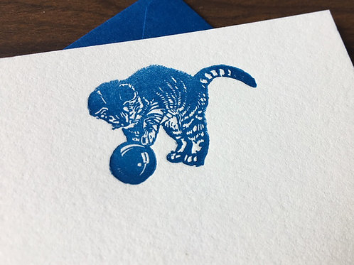 Letterpress Notecards with Cute Kitten Vintage Graphic. Set of 5.