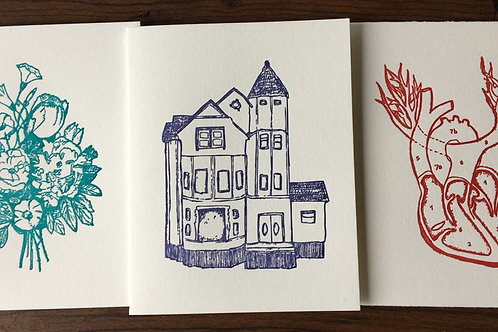 Letterpress Folded Cards. Set of 3, featuring Colorful & Bold Drawings.