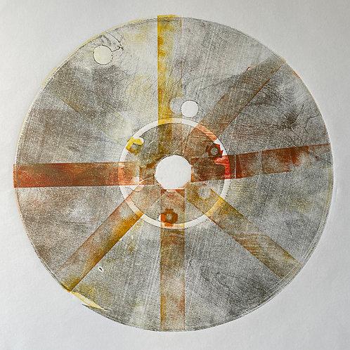 Circle Woodblock Print with Gold, Orange and Yellow Tones