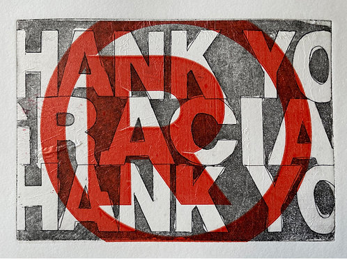 """Red """"Thank You"""" Handmade Art Print. Purchase includes charitable donation."""