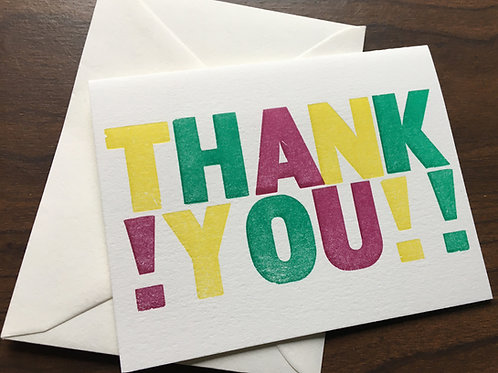 Letterpress Printed, Colorful & Bold, THANK YOU Cards. Set of 10.
