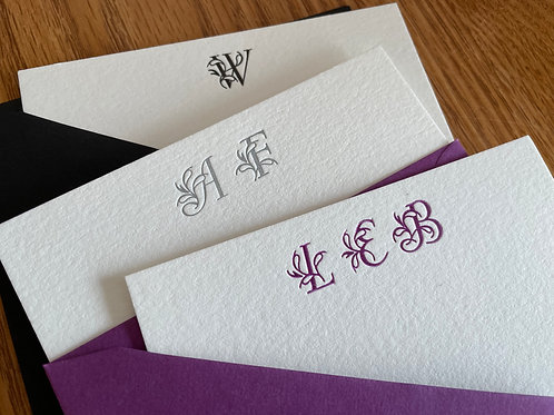 Custom Initial Letterpress Stationery, Set of 30. Personalized Notecards