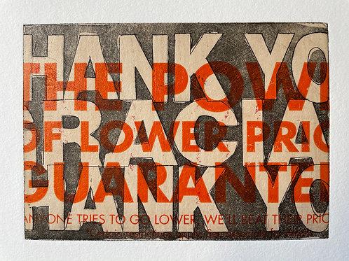"Orange ""Thank You"" Handmade Art Print. Purchase includes charitable donation."