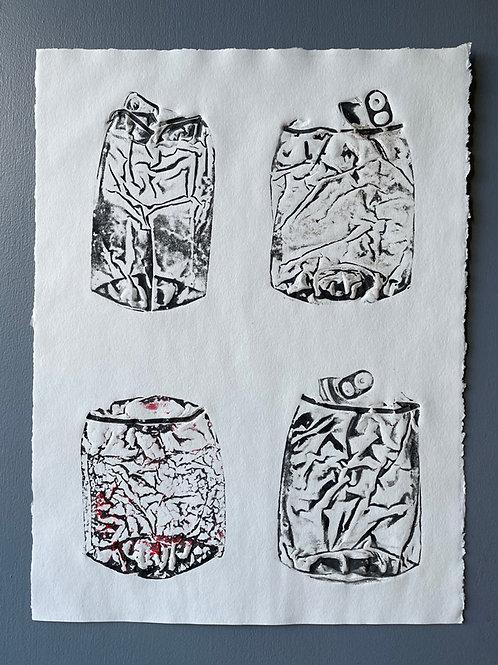 Flatten Cans Print. Unique Handmade Art.