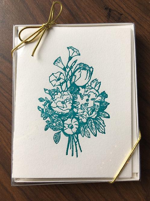 Flower Bouquet Letterpress Folded Cards. Set of 10, with envelopes.
