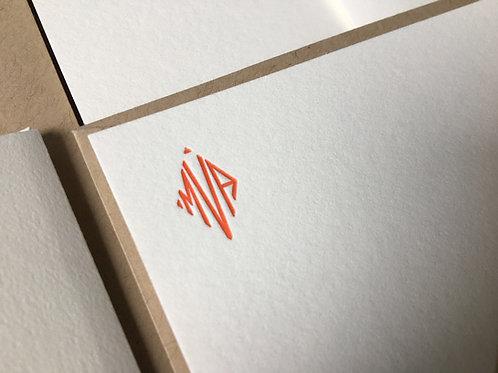 Custom Diamond Shape Monogram Letterpress Stationery. Set of 30 Notecards.