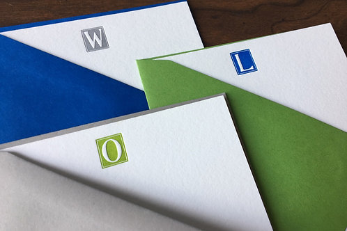 You Custom Initial Letterpress Stationery. Set of 30, Personalized Notecards.