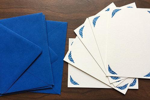 Handprinted Letterpress Notecard Set. Set of 5, with a printed Deco Blue Frame.