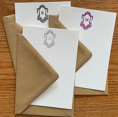 Your Initial Letterpress Stationery, Set of 30. Large Personalized Notecards.