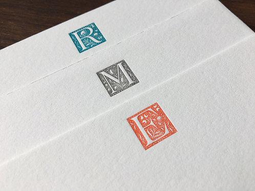 Custom Initial Letterpress Stationery, Set of 30. Decorative Notecards.