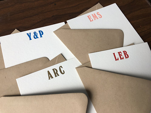Your Custom Initials Letterpress Stationery, Set of 30. Personalized Notecards
