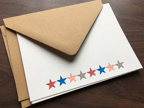 Handprinted Letterpress Notecard Set with Envelopes. Set of 3, Cards with Stars.