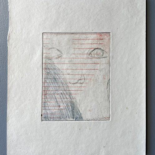 Lined Page with Face. Unique Metal Etching.