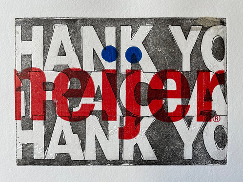 """Red & Blue """"Thank You"""" Handmade Art Print. Purchase includes charitable donation"""