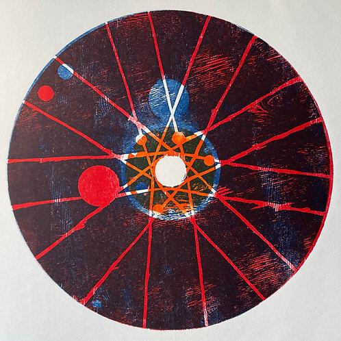 Circle Woodblock Print. Blue & Red Tones. Inspired by Bike Wheel Design.