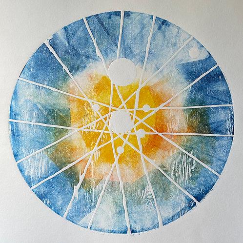 Circle Woodblock Print with Blue & Orange tones